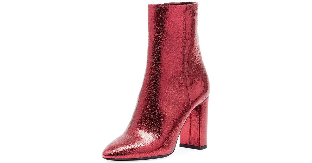 68f850e9b16 Saint Laurent Red Lou Crackled Metallic Leather Mid-heel Bootie