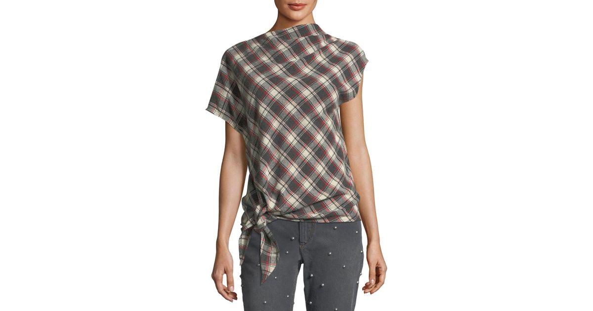 35c3a6f72b4ebd Étoile Isabel Marant High-neck Tie-hem Plaid Wool-blend Top in Red - Lyst
