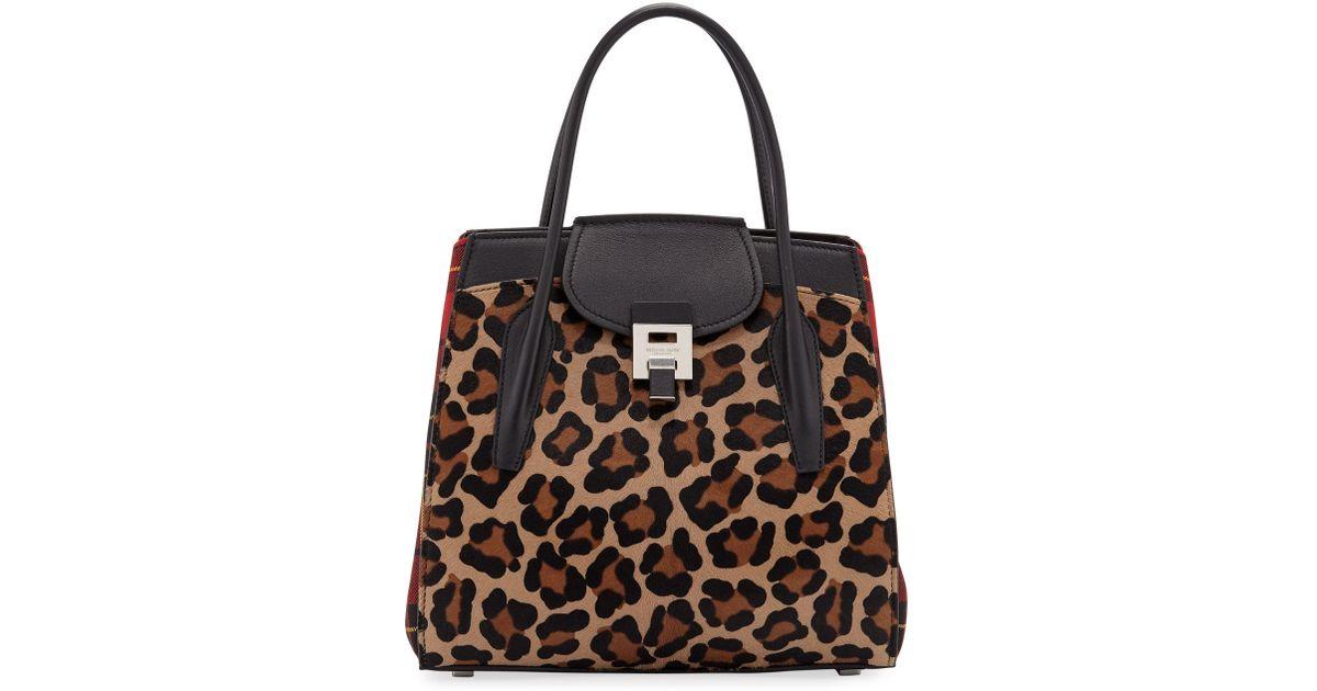 39668d9e0243 Michael Kors Bancroft Leopard Tartan Satchel Bag - Lyst