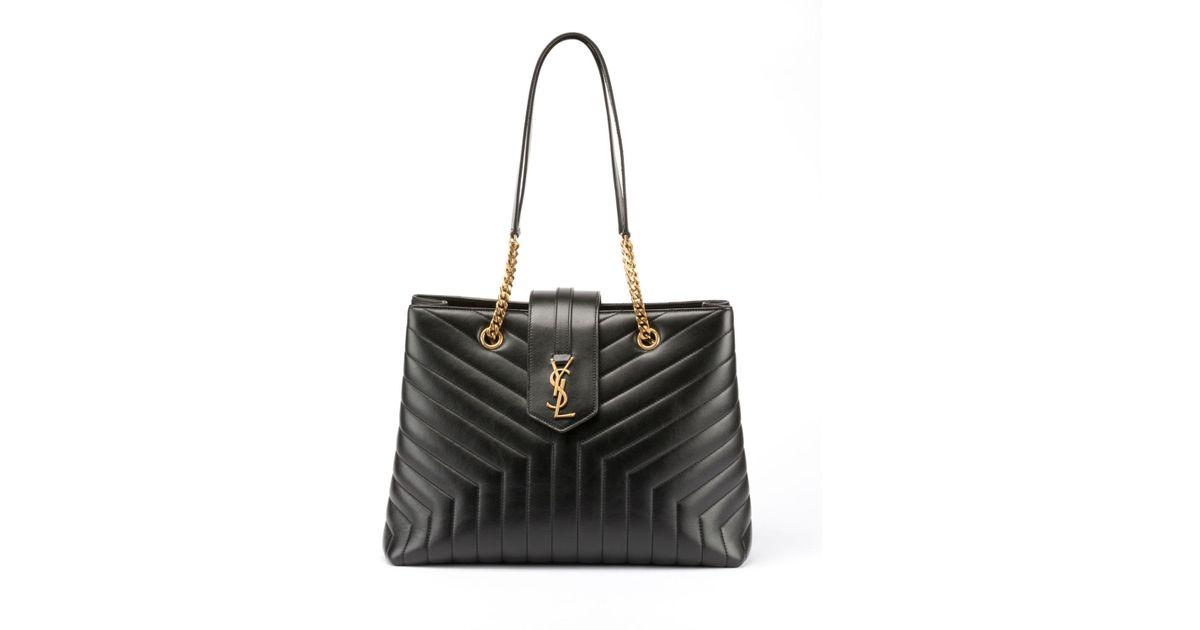 0a173ecac638 Lyst - Saint Laurent Loulou Monogram Ysl Large Quilted Shoulder Tote Bag -  Lt. Bronze Hardware in Black