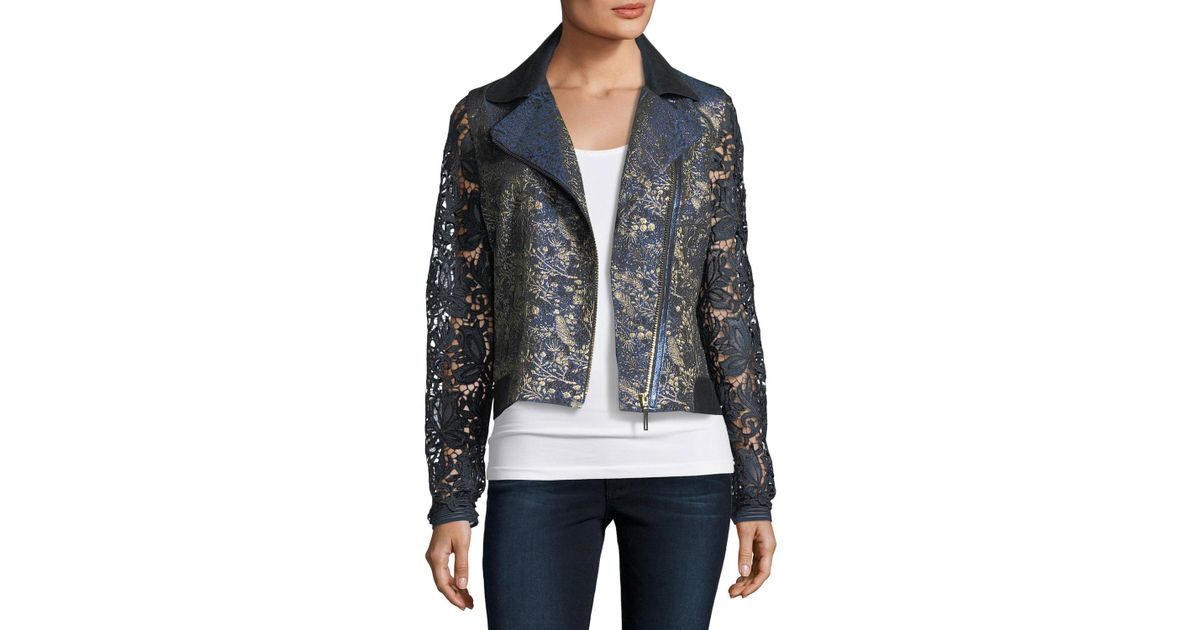 973a8114029f Elie Tahari May Lace Moto Jacket in Blue - Lyst