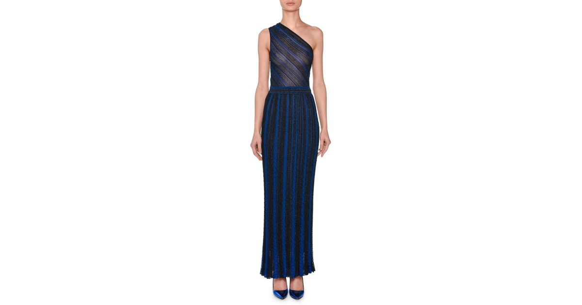 Missoni One-shoulder Metallic-striped Evening Gown in Blue - Lyst