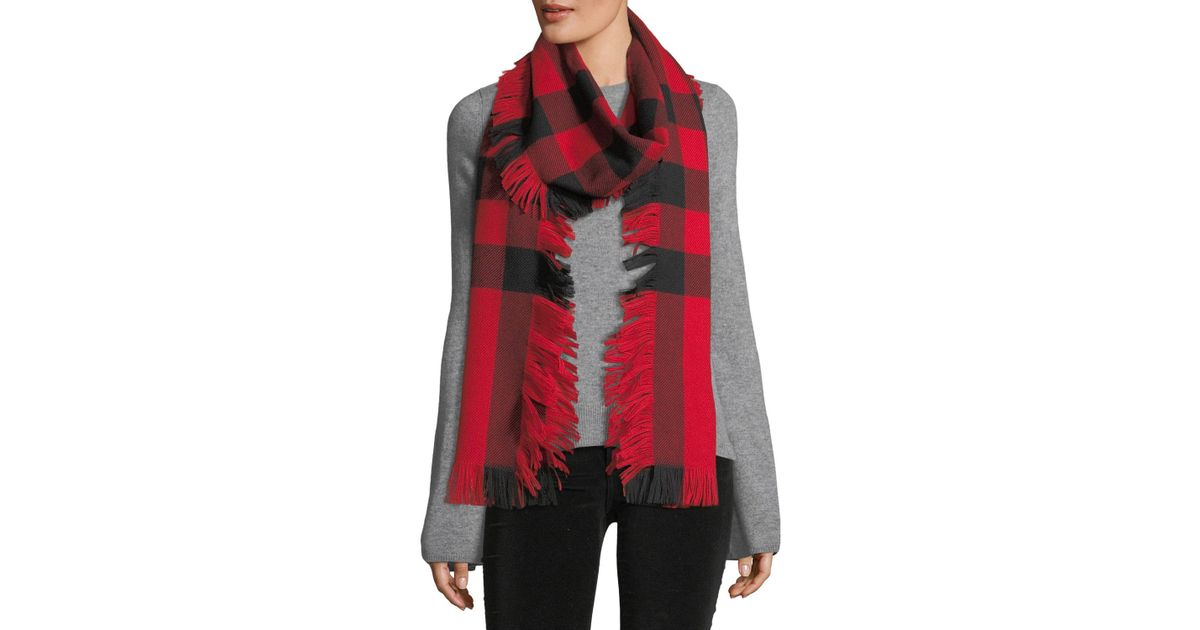 c097bf0d94e5 Lyst - Burberry Half Mega Fashion Plaid Fringe Scarf in Red