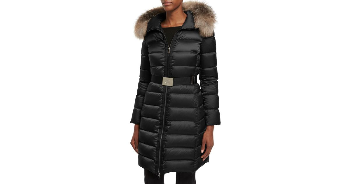 2ce219cd7 Moncler Black Tinuviel Shiny Quilted Puffer Coat W/fur Hood
