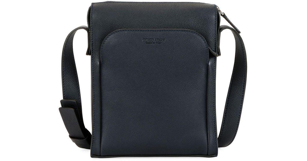 bf8f4e29c2 Giorgio Armani Black Men's Tumbled Calf Leather Crossbody Bag for men