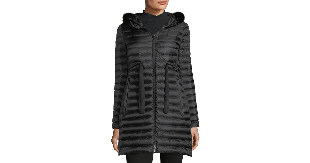 fc7195648 Lyst - Moncler Barbel Quilted Puffer Coat With Fur Trim in Black ...