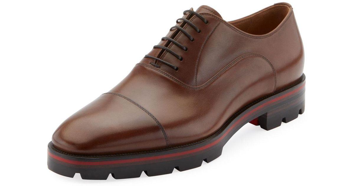 the best attitude 72f1e 193cc Christian Louboutin Brown Men's Hubertus Leather Lace-up Shoes for men