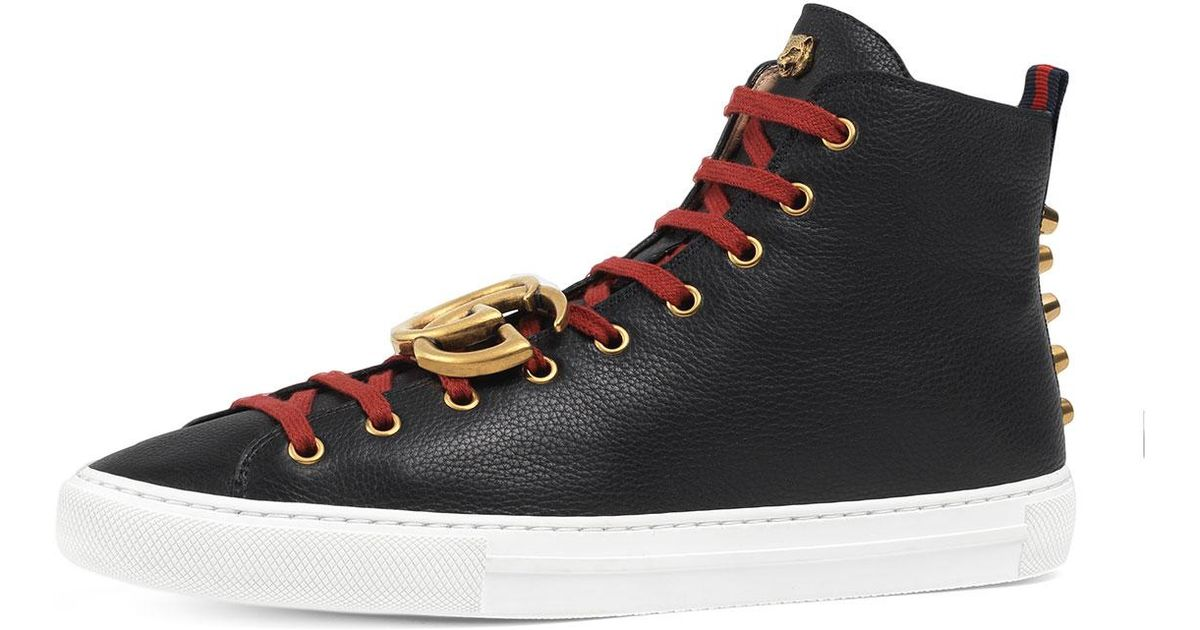 26cb9aff8ee Lyst - Gucci Major Leather High-top Sneaker W gg Ornament in Black for Men