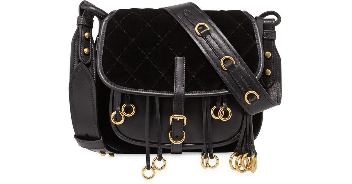 87c9289e6f59 Lyst - Prada Quilted Velvet   Leather Messenger Bag