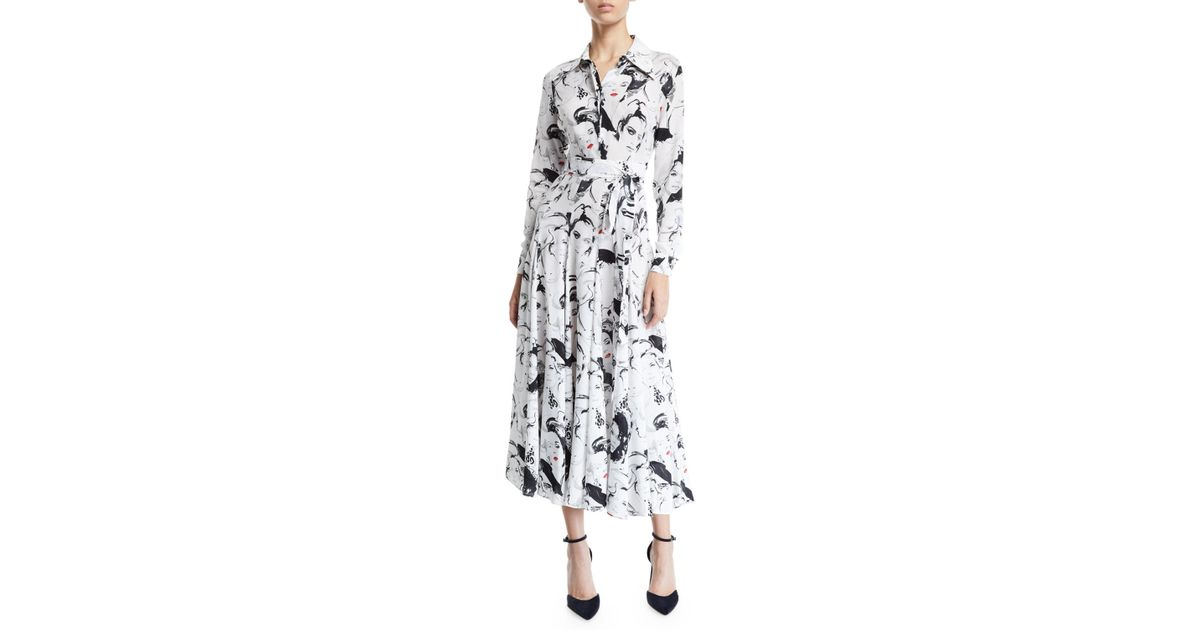 9729c4062d60 Lyst - Michael Kors Long-sleeve Illustration-print Georgette Shirtdress in  Black