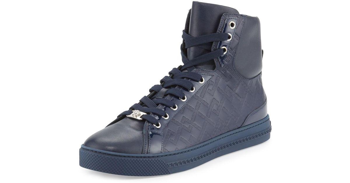 VERSACE Grecca Embossed High-Top Sneakers 106hv8mQmP