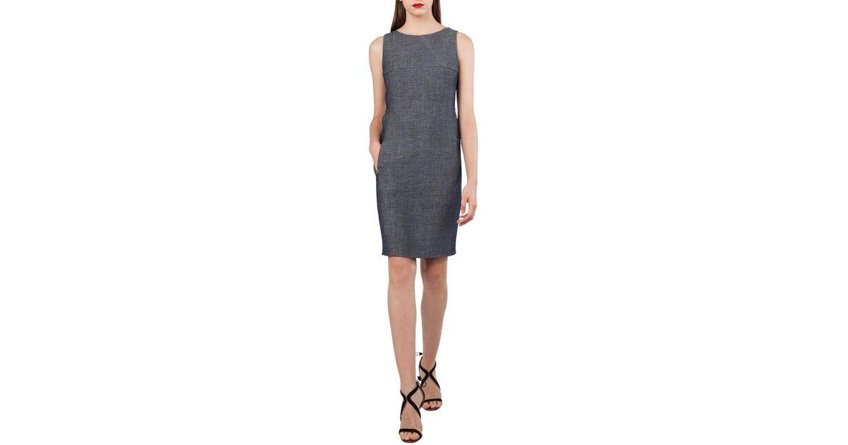 c506274c04 Lyst - Akris Sleeveless Wool-linen Sheath Dress in Blue