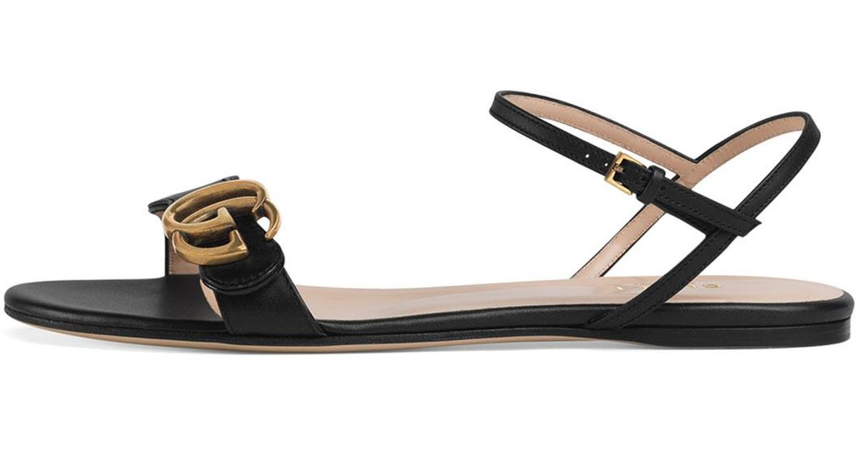 77542557e27 Lyst - Gucci Marmont Flat Double-g Leather Sandals in Black
