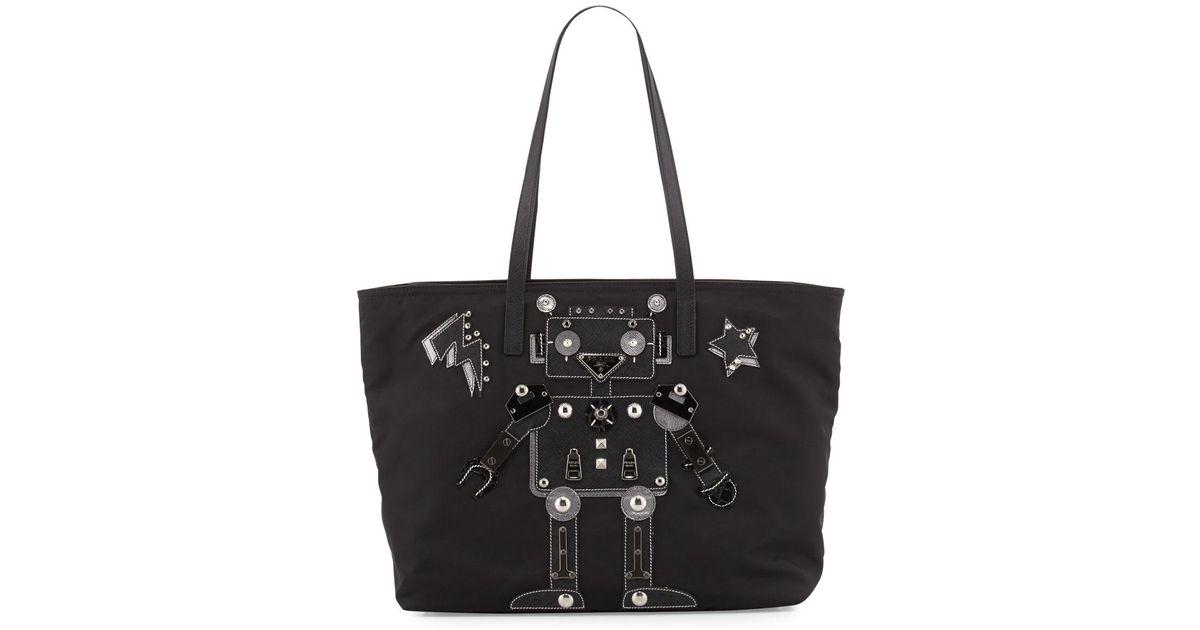 24075316d9d986 Prada Medium Nylon Robot Tote Bag in Black - Lyst