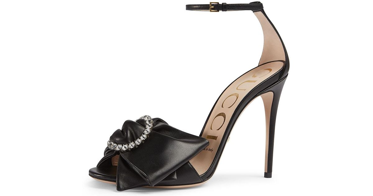 Gucci Ilse Pleated Leather Bow Sandals