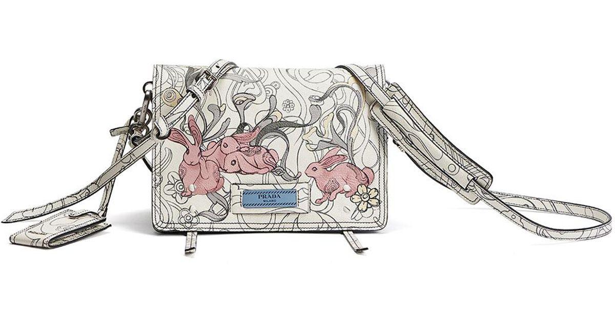 8877da700437 Lyst - Prada Etiquette Small Rabbit-print Leather Crossbody Bag in White