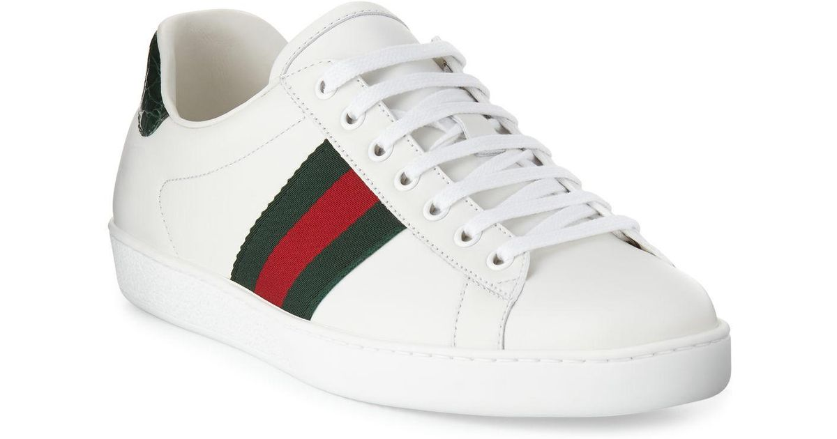 42b15c1f555 Lyst - Gucci Men s New Ace Leather Low-top Sneakers in White for Men - Save  5%