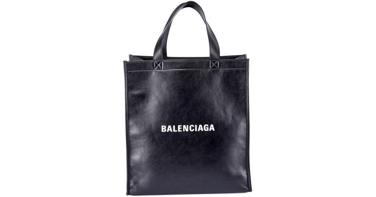 62db41dfdb Balenciaga Black Men's Small Logo Typographic Leather Shopper Tote