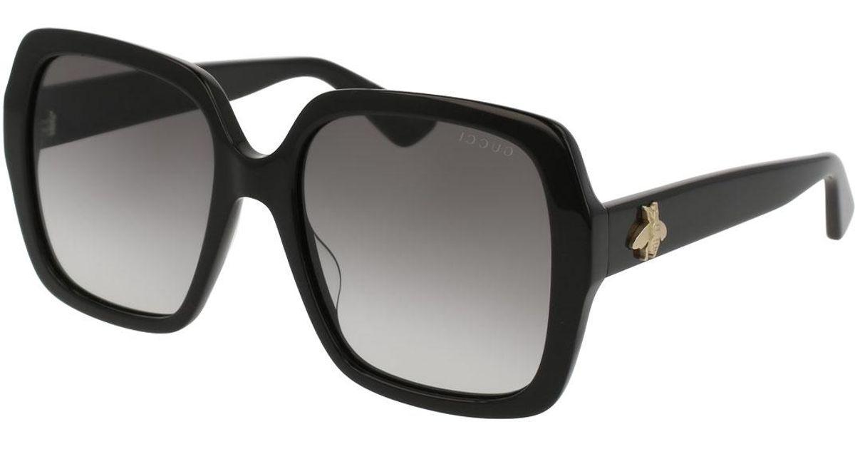 cf812b2cdf Lyst - Gucci Square Bee   Logo Acetate Sunglasses in Brown