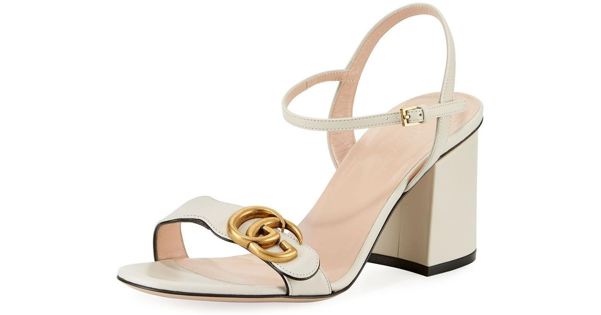 29ad8a96ab5 Lyst - Gucci Marmont Leather GG Block-heel Sandals