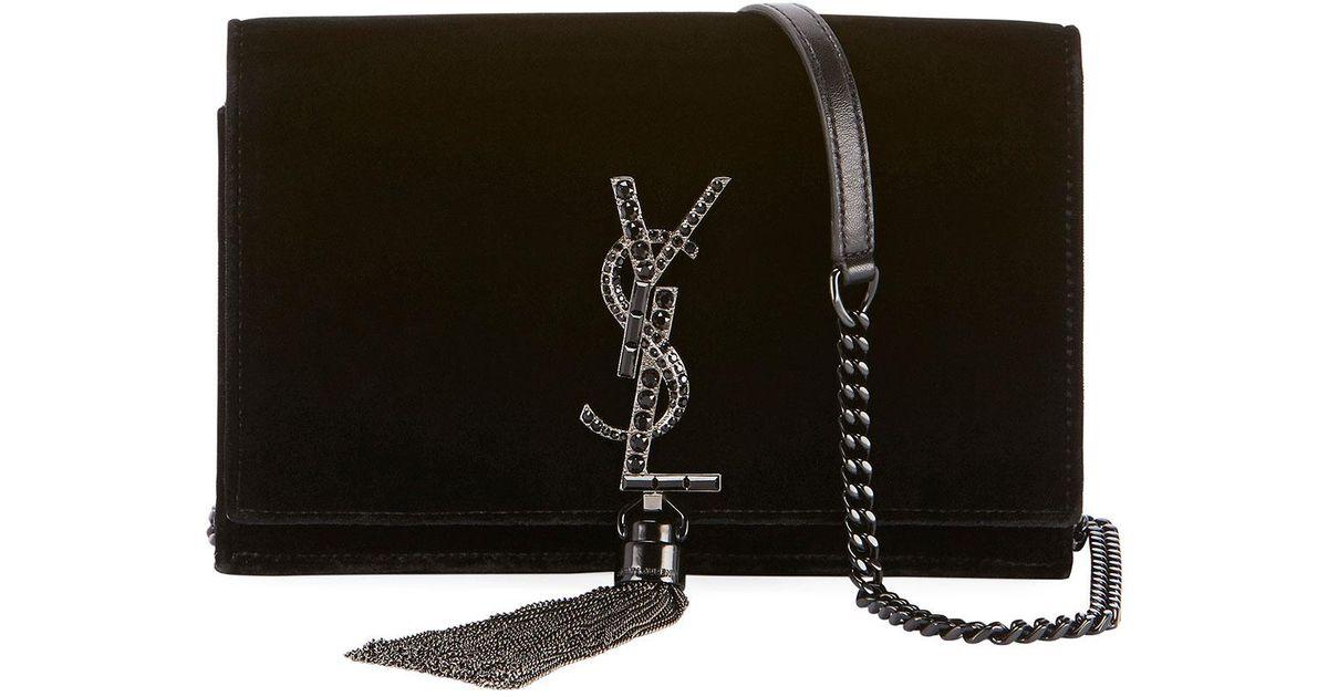 47e7680c3d Lyst - Saint Laurent Monogram Kate Velvet Chain Wallet in Black