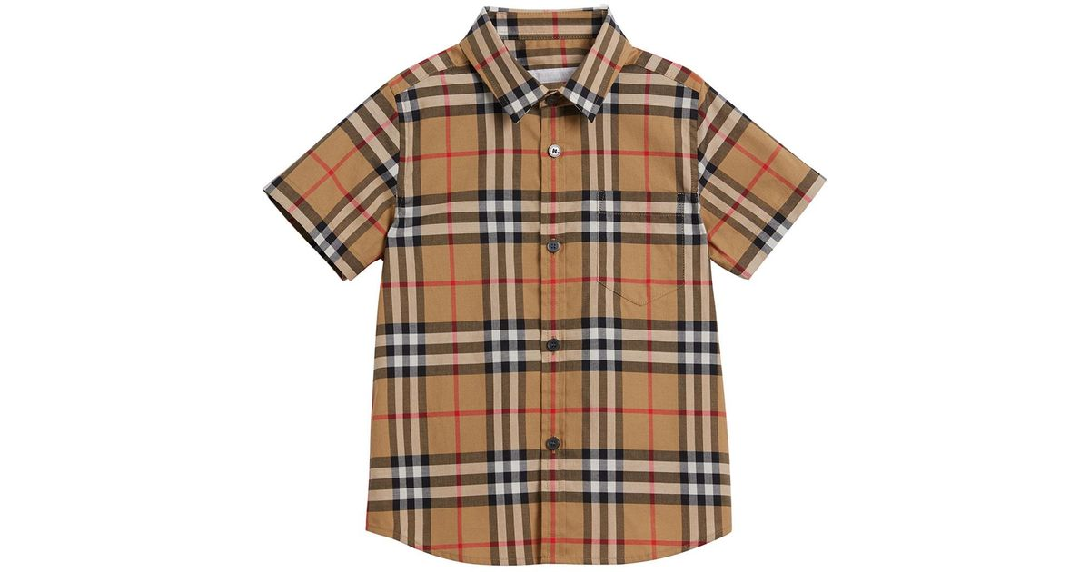 5e6767fb1 Burberry Fred Short-sleeve Check Shirt in Natural for Men - Lyst
