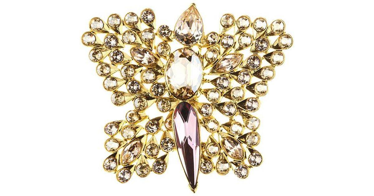 Oscar De La Renta seahorse crystal brooch - Metallic rTFZCsr
