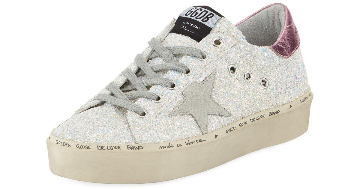 618ef262d5f Lyst - Golden Goose Deluxe Brand Hi Star Glitter Platform Sneaker