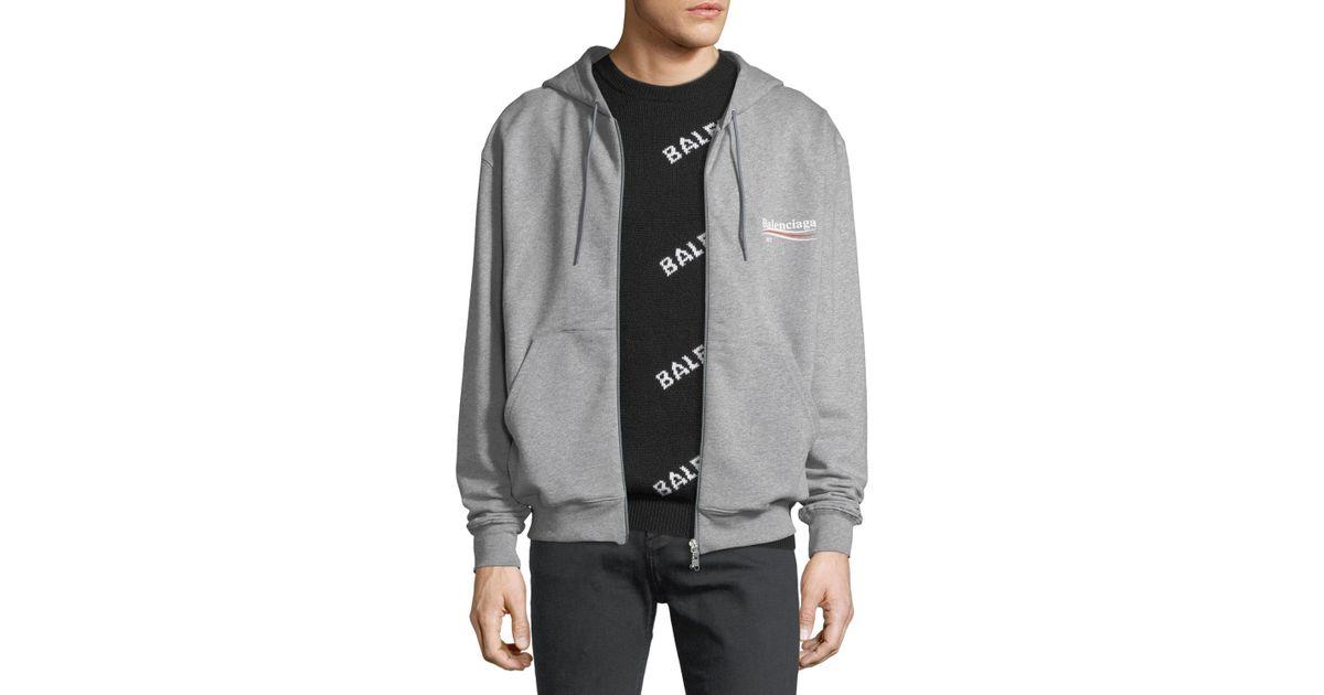 2e63bdc91f2 Balenciaga Campaign Logo Zip-front Hoodie in Gray for Men - Lyst