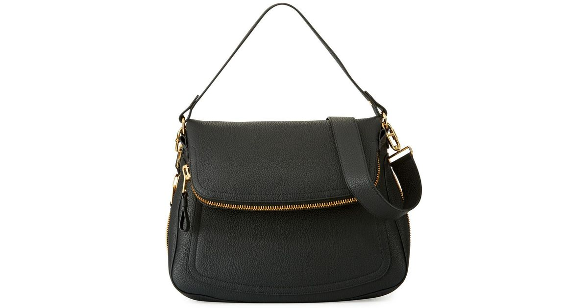 24f84b877 Tom Ford Jennifer Large Grained Leather Saddle Bag in Black - Lyst