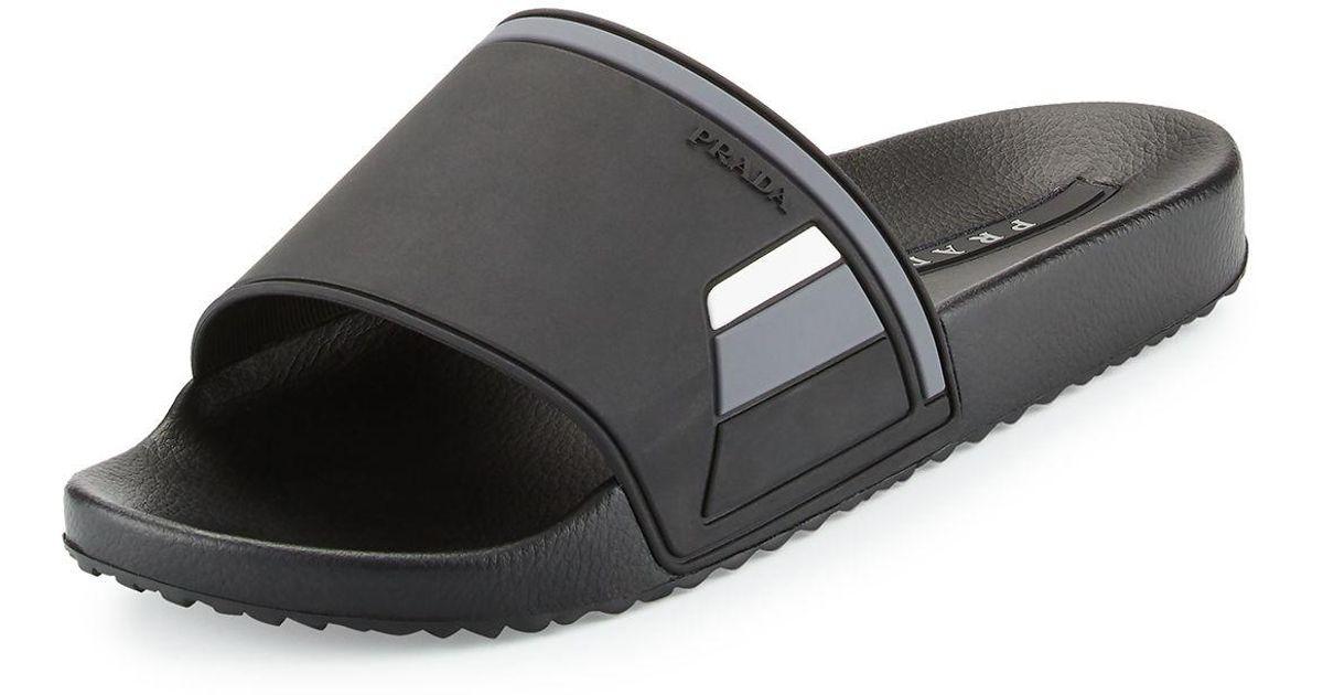 e70875acd61ec Prada Black Men's Colorblock Rubber Slide Sandal for men