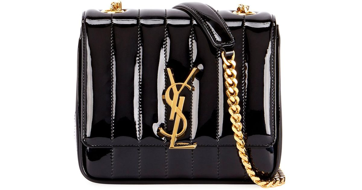fa80320b Saint Laurent Black Vicky Monogram Ysl Small Quilted Patent Leather  Crossbody Bag