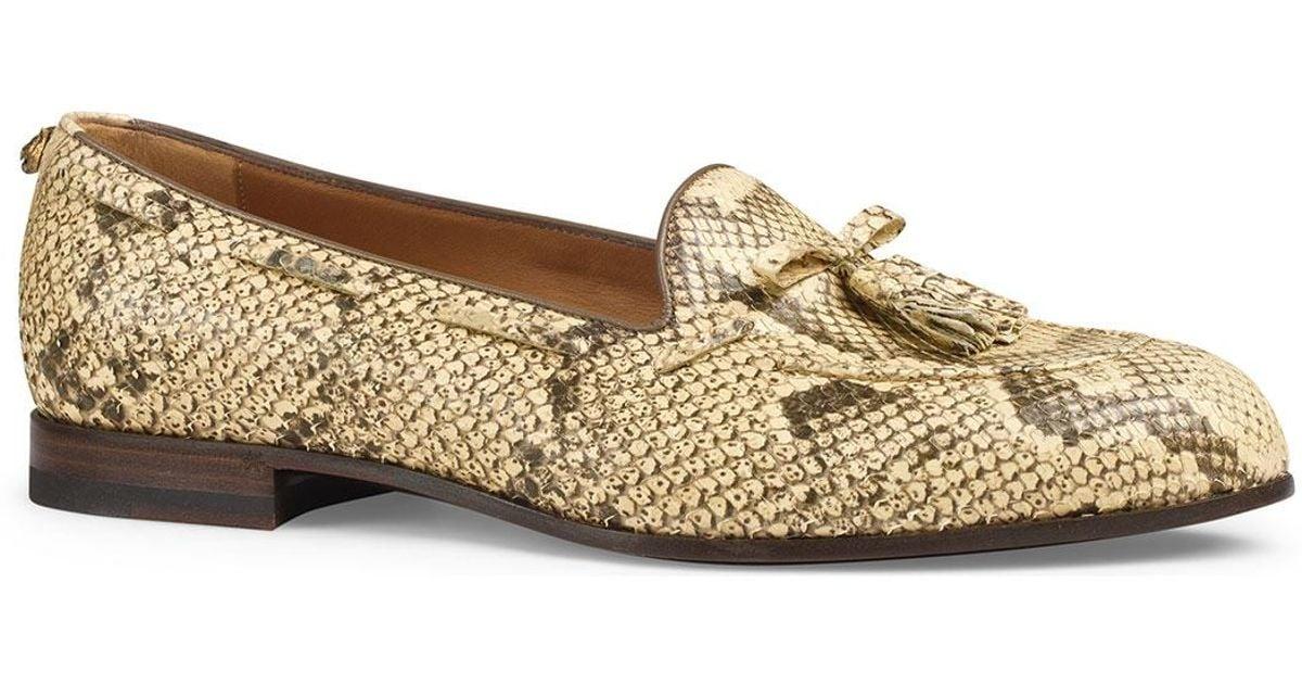 d774cec69 Gucci Python Tassel Loafer in Natural for Men - Lyst
