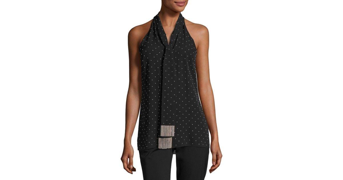 0a45ae38828f8 Lyst - Michael Kors Beaded Silk Sleeveless Tie-neck Top in Black