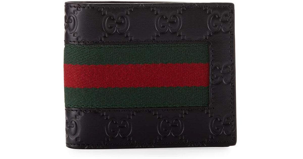 2dea0d903aee Gucci Logo-embossed Signature Web Wallet in Black for Men - Lyst