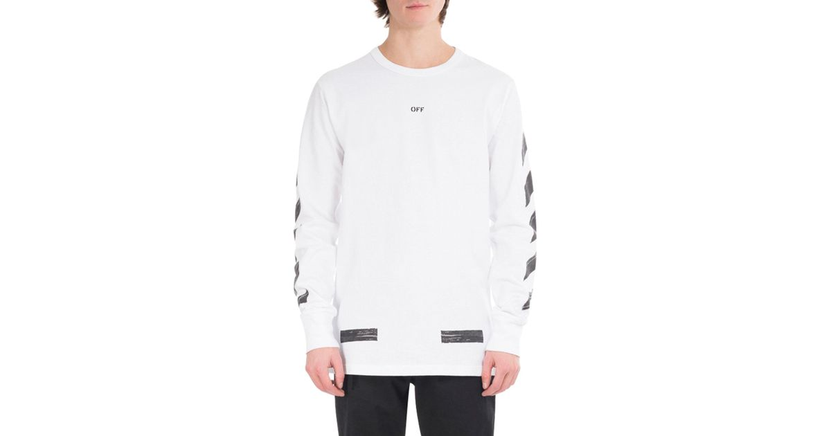 b4cc2ce1 Off-White c/o Virgil Abloh Brushed Diagonal Arrows Long-sleeve Cotton T- shirt in White for Men - Lyst