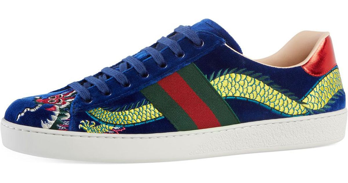 ab2084bc8 Gucci New Ace Embroidered Velvet Low-top Sneaker in Blue - Lyst