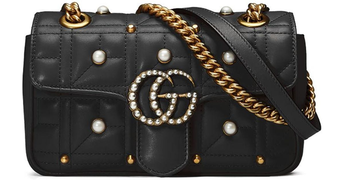 aeb8c9fd77f2 Gucci Gg Marmont Pearly Matelassé Mini Bag in Black - Lyst