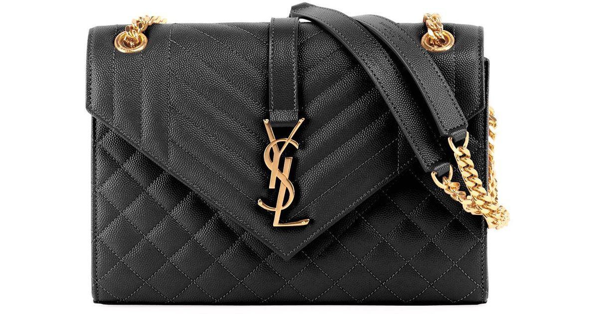 711498fab2 Saint Laurent V Flap Monogram Ysl Medium Envelope Chain Shoulder Bag - Golden  Hardware in Black - Lyst