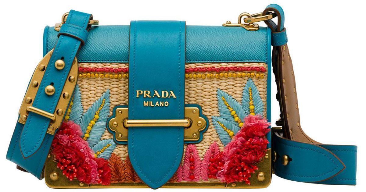 a2fd70fa8d Lyst - Prada Raffia Cahier Crossbody Bag in Blue