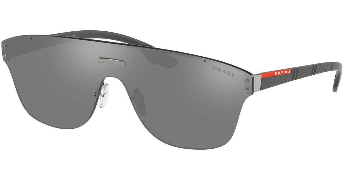 bbb60a649e Prada Men s Ps57ts Rimless Shield Sunglasses in Black for Men - Lyst