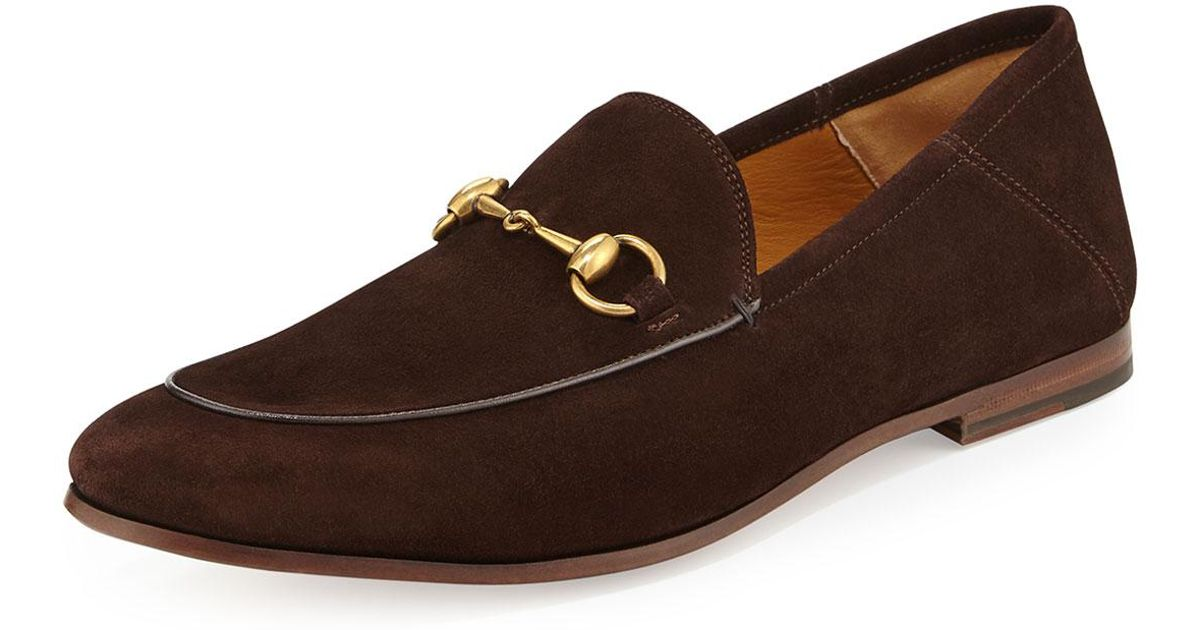 22021c136 Gucci Brixton Suede Horsebit Loafer in Brown - Lyst