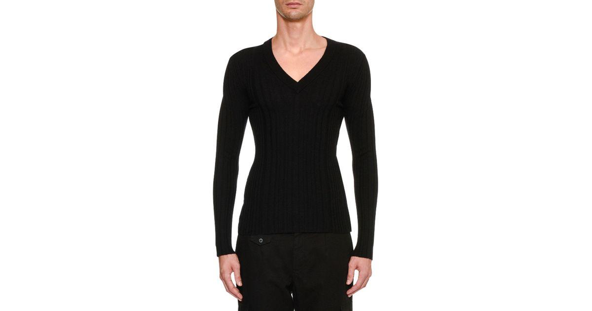 0772dfba0330 Lyst - Dolce   Gabbana Men s Knit V Neck Sweater in Black for Men