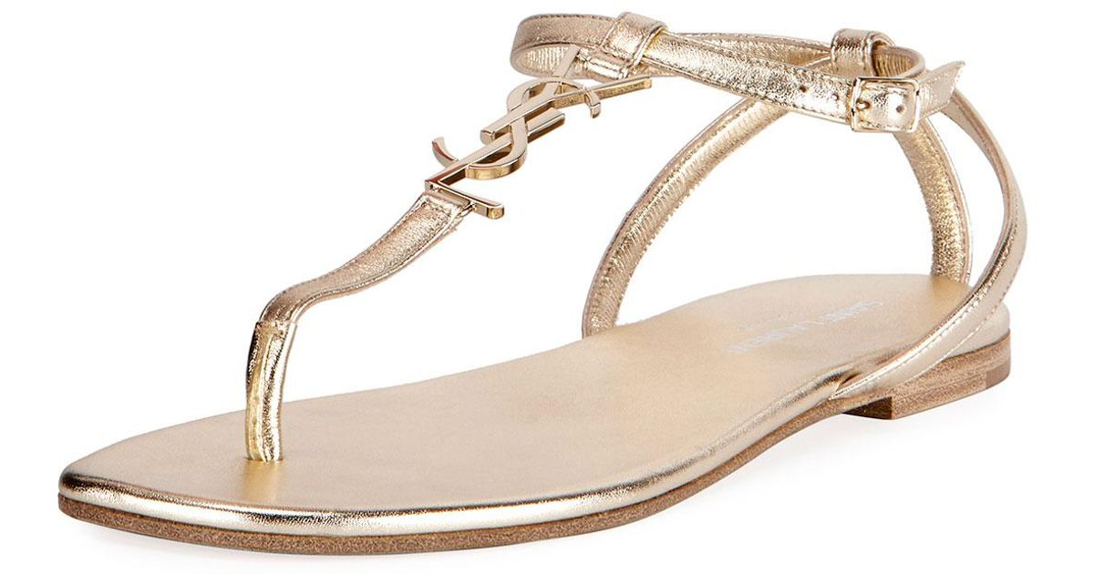 a8c06b08386d1 Lyst - Saint Laurent Monogram Metallic Flat Thong Sandal in Metallic