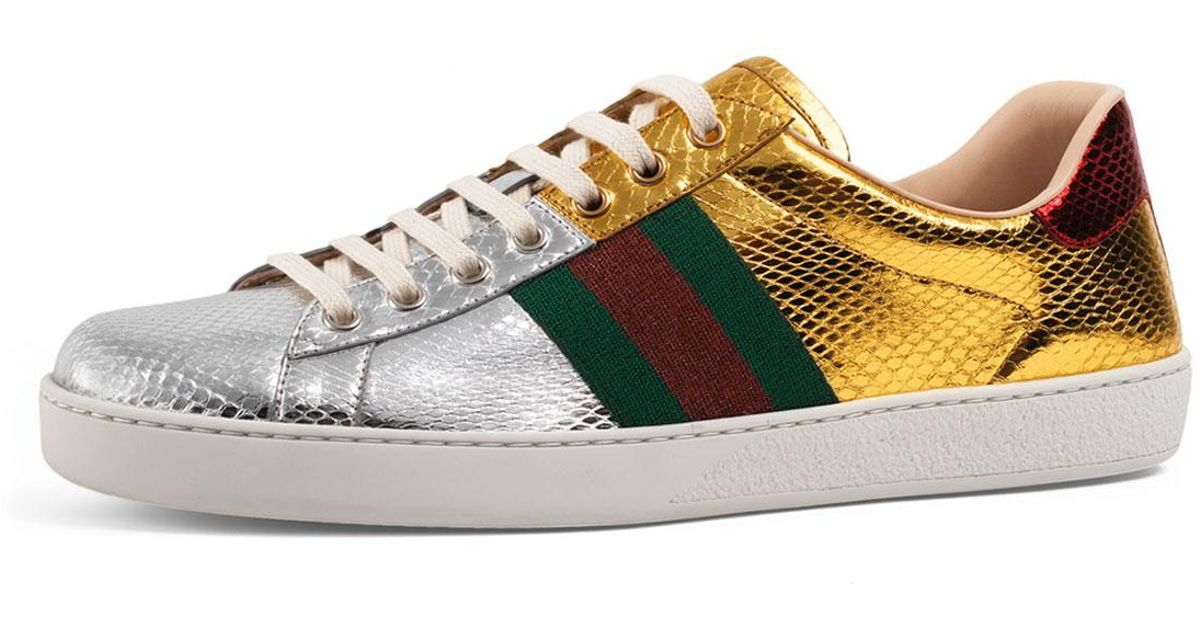 Gucci Leather New Ace Snakeskin Low-top