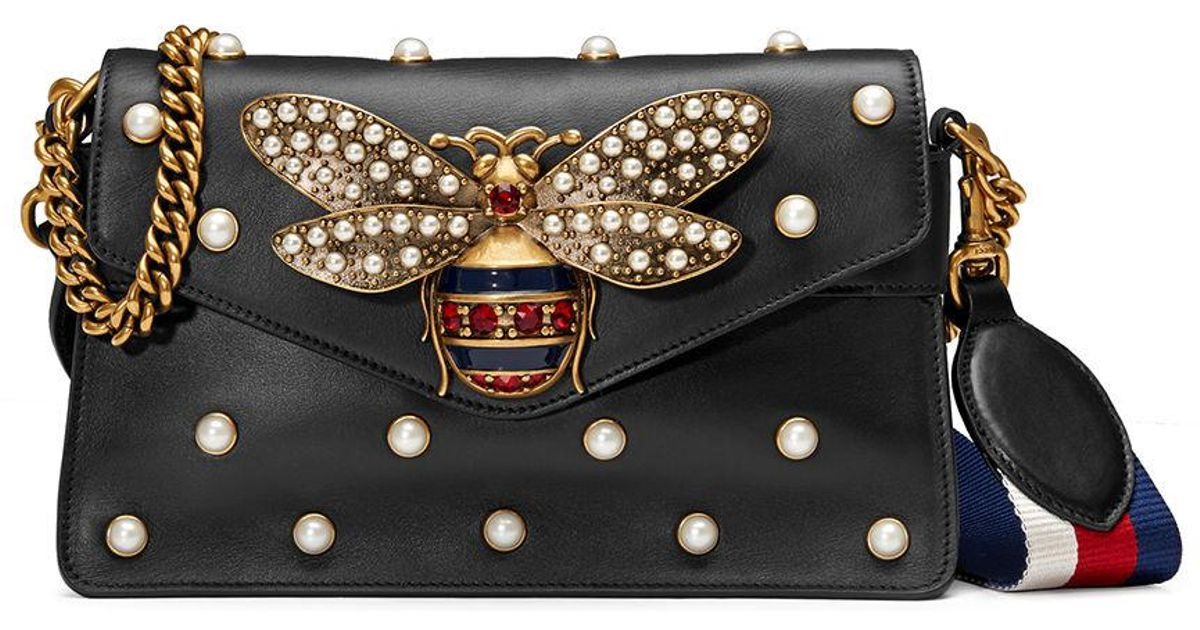 f732701d620f Gucci Broadway Pearly Bee Shoulder Bag in Black - Lyst