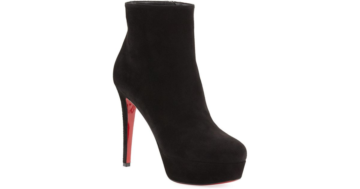 cb66340ae1f Christian Louboutin - Black Bianca Suede Platform Red Sole Boot - Lyst