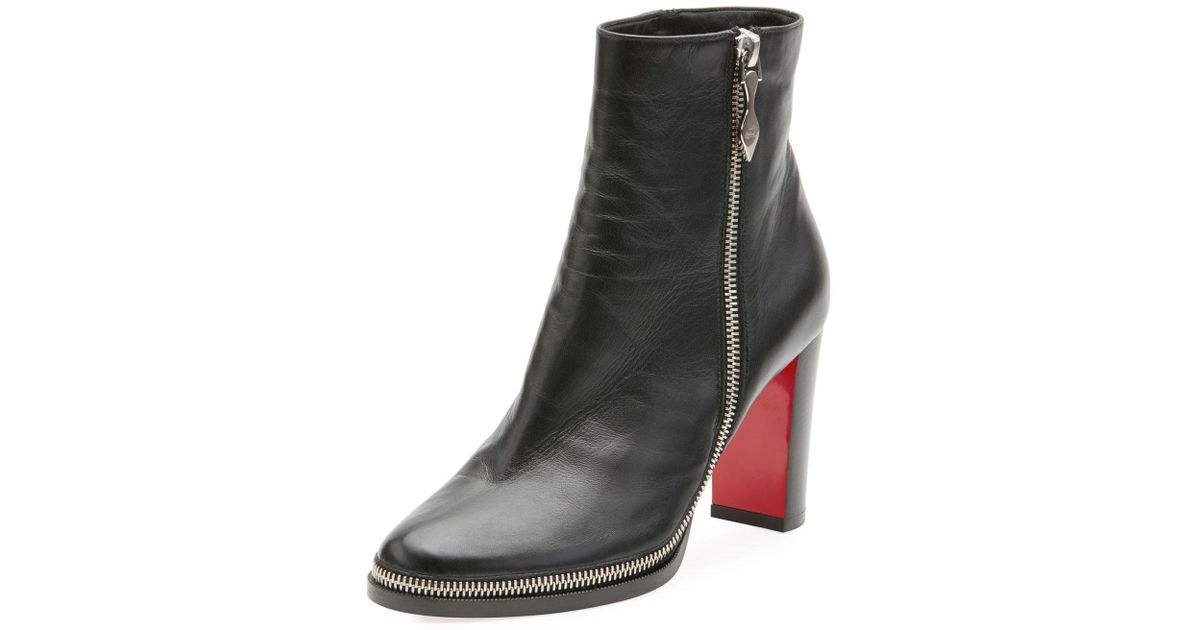 on sale 59375 273a1 Christian Louboutin Black Telezip Crinkled Red Sole Ankle Boot