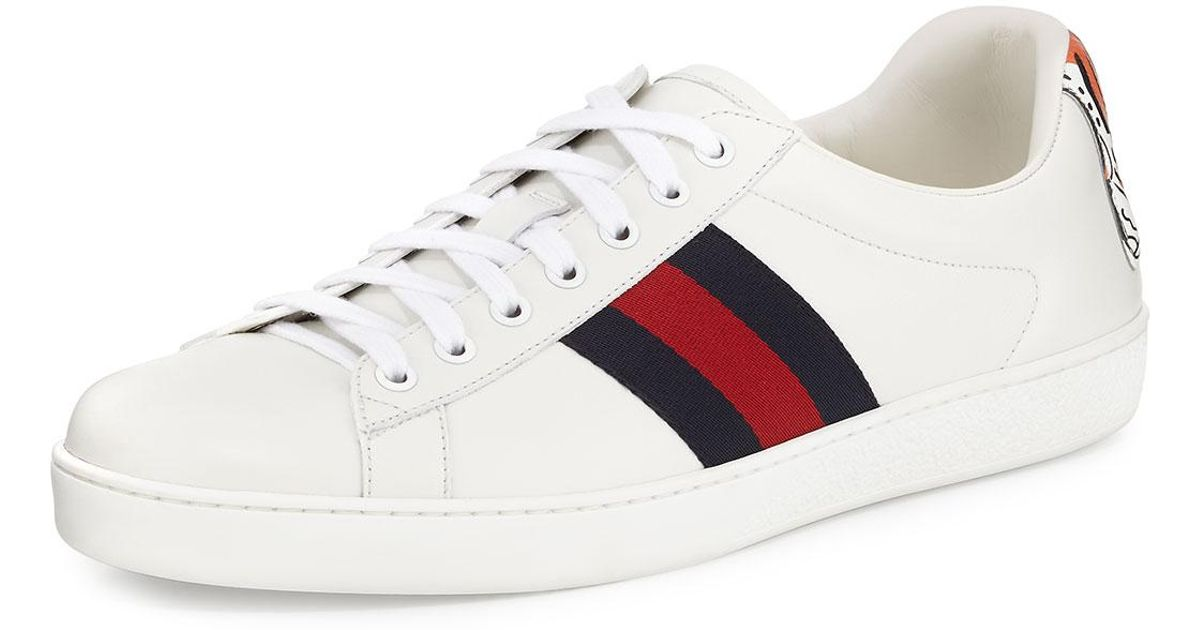 Lyst - Gucci New Ace Hanging Tiger Leather Low-top Sneaker in White ced0d8b81