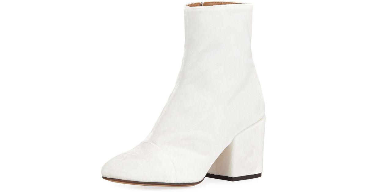 bb3c72bbdfe9 Lyst - Dries Van Noten Velvet Block-heel Boot in White